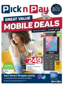Pick n Pay : Mobile Deals (25 Mar - 21 Apr 2019), page 1