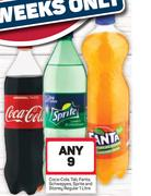 Coca Cola, Tab, Fanta, Schweppes, Sprite And Stoney Regular-Any 9x1Ltr