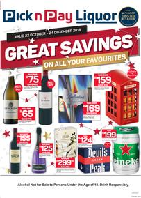 Pick n Pay Liquor : Great Savings On All Your Favourites (22 Oct - 24 Dec 2018), page 1