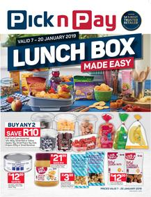 Pick n Pay Eastern Cape : Lunchbox Made Easy (07 Jan - 20 Jan 2019), page 1