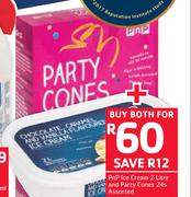 PnP Ice Cream-2Ltr & Party Cones-24s-Both For