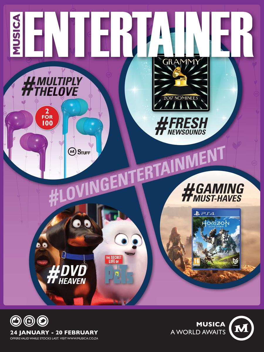 Musica : Entertainer (24 Jan - 20 Feb 2017)