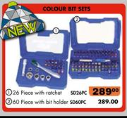 Colour Bit Sets 26-Piece With Ratchet SD26PC