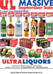 Ultra Liquors : Massive Promotion (18 Sep - 01 Oct 2018), page 1